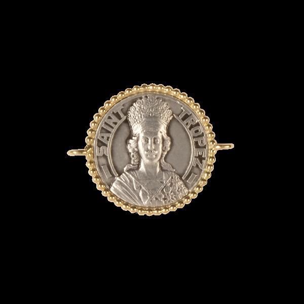 Médaille - Bracelet argent/or Jaune - 16mm - La Médaille de Saint-Tropez