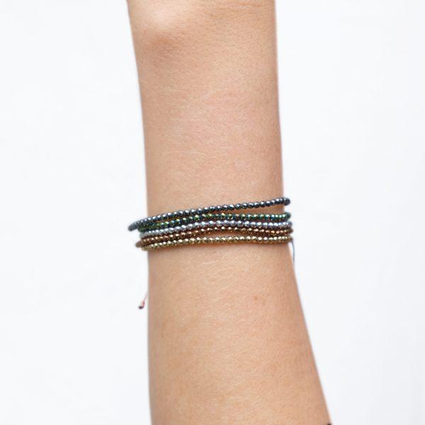 Bracelet Hematite facetée Gold / Bronze / Vert / Argent / Anthracite - La Médaille de Saint-Tropez