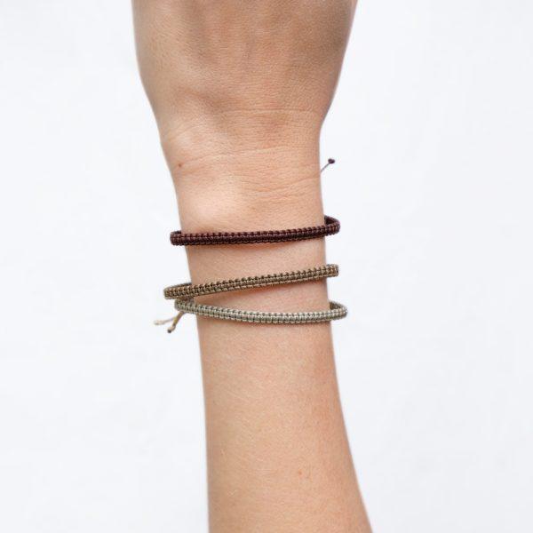 Bracelet Macramé Maron glacé / Marron foncé / Taupe - S -