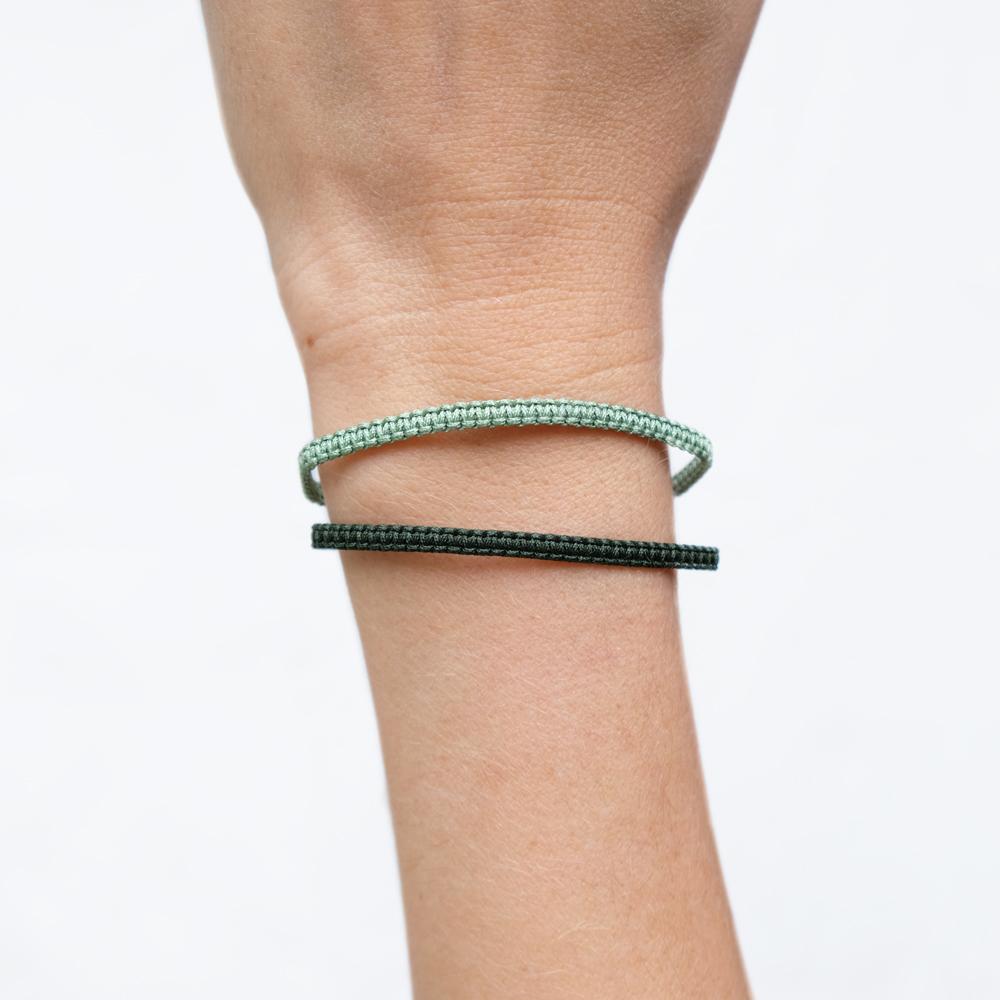 Bracelet Macramé Vert olive Vert foncé - La Médaille de Saint Tropez