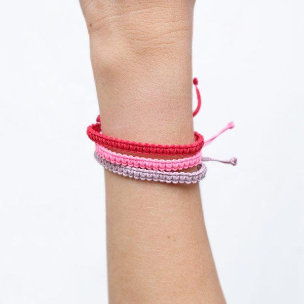 Bracelet Macramé Rouge / Vieux Rose / Rose - M - La Médaille de Saint-Tropez