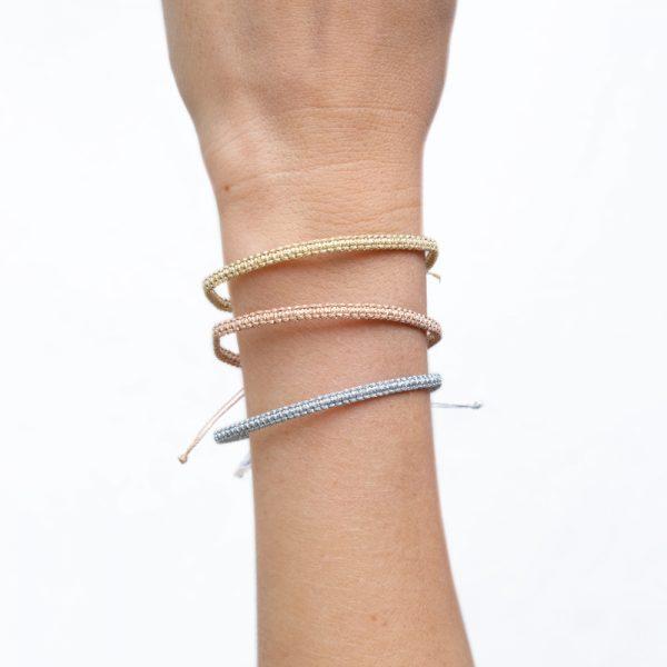 Bracelet Macramé Lamé or / Lamé argent / Lamé arose - S -
