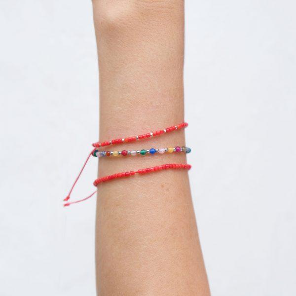 Bracelet Corail Argent / Corail Rouge / Tutti Frutti - La Médaille de Saint-Tropez